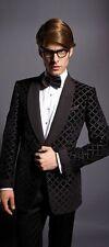 Tom Ford Black Diamond Pattern Velvet Tuxedo Jacket Smoking Jacket EUR 52 US 42