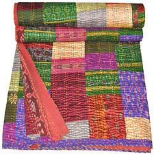 Indian Quilt Vintage Quilt Old Patola Indian Silk Sari Kantha Quilted Patchwork