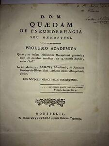 PNEUMORAGIE ou HÉMOPTYSIE. THÈSE DE MÉDECINE de 1806.