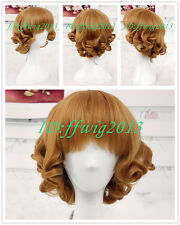 Sweet Charming HairStyle Curly Bob Gold Gothic Lolita Wig Rozen Maiden COS wig