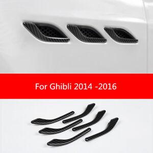 Carbon Fiber Side Air Vent Fender Cover Trim For Maserati Ghibli 2014 -2016