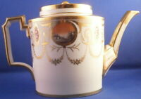 Antique 18tC Paris Porcelain Scenic Teapot Porzellan Kanne French Tea Pot France