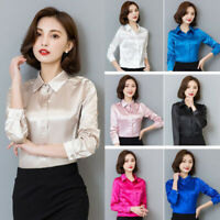 Women Satin Silk Like Wet Look Slim Blouse Lady Long Sleeve Collared Basic Shirt