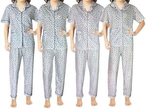 Women's Pyjama Set Night Suits Short Sleeves Floral Ladies Nighty Cotton Pjs