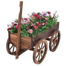 Rustic Planter Rolling Wood Cart Wagon Wheel Garden Pot Flower Bed Nursery Tub