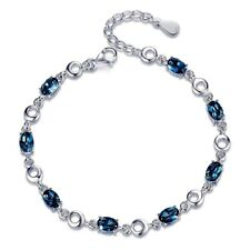 4Ct Blue Sapphire Tennis Bracelet In White Gold Over 925 Sterling Silver