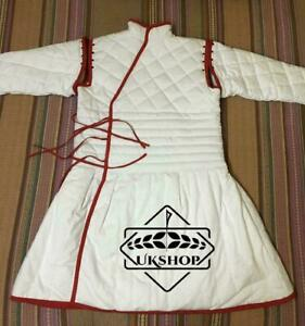 Medieval Cotton White Color Red Boder thick padded Gambeson SCA