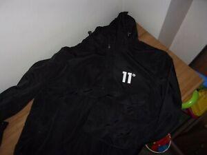 11 DEGREES - Hurricane - Black Hooded Rain Jacket  -  Size Large