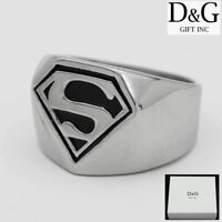 DG Super Men's Silver Black Stainless Steel Ring Size: 8.9 10 11 12 13*Box