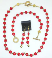 Red Hearts Necklace, Bracelet & Earrings Jewelry Set - Rosary Link Czech Glass