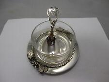 wunderschöne Kaviar Schale Glas & Silber 800 - 900, Jensen Style, Blätter Dekor