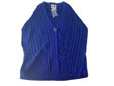 Aran Crafts Mens Cardigan Sweater L Blue 100% Merino Wool Shawl Neck Ireland