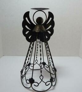 Large Country Rustic Metal Primitive Angel Pillar  Candle Holder Statue