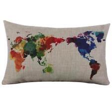 Multi-coloured World Map Linen / Burlap Cushion cover Pillow Case 30cm x 50cm
