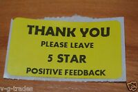 LOT OF 500 YELLOW Thank You 5 STAR  Stickers Label for eBay Purchase 2X1
