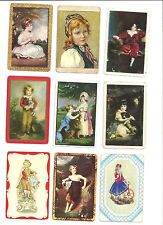 Playing  Card  SAMPLE  -  BLANK  back  - lot of 9 -  Children - Painting / ART