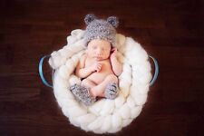 Fluffy Mohair crochet bear hat + booties. Photography prop. Newborn. Baby Shower