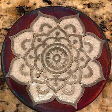 Mandala Coaster Raku Pottery, handmade, handsigned - NEW