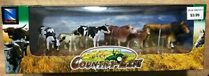 NewRay Country Life Cattle Toy Figures Play Set 4 Cows 2 Calves 1 Bull