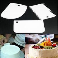 3 x Plain Smooth Jagged Edge Plastic Dough Icing Fondant Scraper Cake Decorating