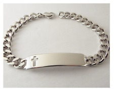 ID Bracelet Mens Personalized Silver Cross Cutout Speidel Custom Engraved