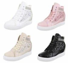 Damen Sneakers Keilabsatz High Top Sneaker Wedges Lack Metallic 813826 Top
