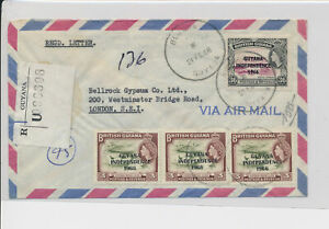 LM91019 British Guiana 1968 registered airmail good cover used