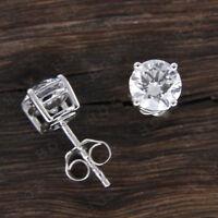 Real 14k White Gold Solitaire 1.00 Carat Diamond Stud Earrings For Women's