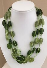 ZAD Green Marbled Art Glass Triple Strand Statement Necklace