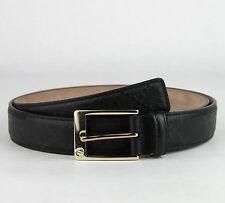 Gucci Men's Black Diamante Pattern Leather Belt w/gold Buckle 80/32 345658 1000