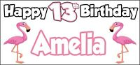 Flamingo 13th Birthday Banner X 2 Party Decorations Girls Boys Teenager ANY NAME