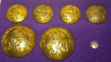 ANTIQUE ORIGINAL MILITARY * ROYAL ARMY 19 th METAL BUTTON LOT OF 06 VERY  RARE