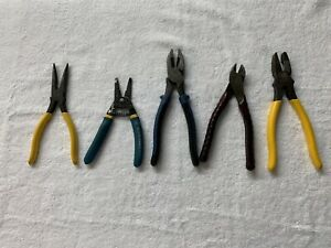 LOT OF 5 KLEIN PLIERS - D203-8, 11055, J2000-9NETP, D248-8, & D213-9NECR - USED