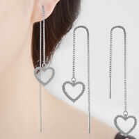 925 Sterling Silver Austrian Crystal Heart Long Tassel Stud Dangle Earrings