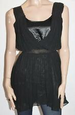 Dazzling Designer Black Pleat Chiffon Shirred Waist Dress Size XS BNWT #TA02