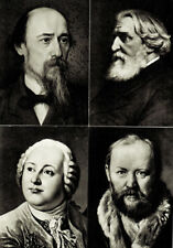 14 Russian postcards PORTRAITS OF RUSSIAN WRITERS detailed captions