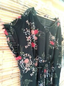 Yours Clothing Dress Plus Size 26 28 Black Floral Below Knee Curvey Summer boho