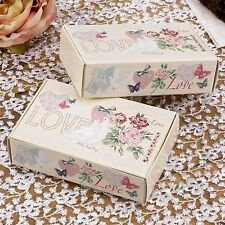 10 CAKE SLICE BOXES Wedding Party Favours IVORY Doves Hearts WITH LOVE Vintage