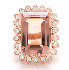 Estate 26.80 Carats Natural Morganite and Diamond 14K Solid Rose Gold Ring