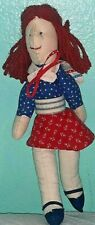 Vintage Cloth Stuffed Plush Woman RED & BLUE Doll with Cape10""