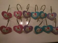 Hello Kitty One (1) Set 12 Shower Curtain Hooks Rings Flowers Heart