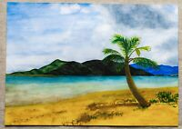 Hawaii Beach Painting American Native Art Seascape Tropical Ocean Coast Mountain