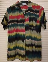 Women's Button Down Shirt Size S Small Electric Multi Color Design