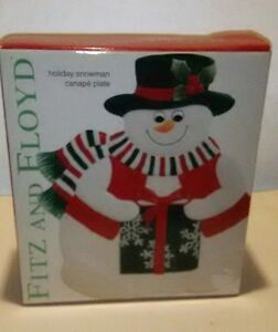 Fitz And Floyd Holiday Essentials Snowman Canape Plate New In Box