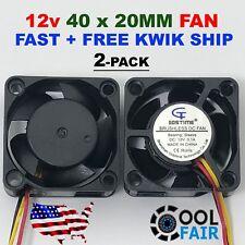 2 Pcs 12V 40mm x 20mm DC Cooling Fan 3pin 4020 Computer Case Cooler 9 CFM