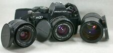 Praktica BX20 SLR 35mm Film Camera Body + 3 Zeiss CZJ Lenses 50mm, 28mm & 135mm