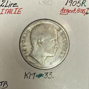 ITALIE - 2 LIRE 1905 R - Pièce de Monnaie en Argent // Qualité : TB