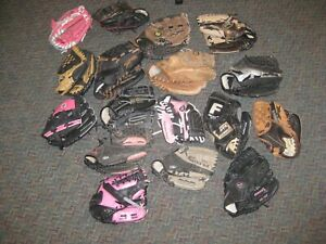 """Lot of (17) Youth Baseball Gloves 9"""" to 10"""""""