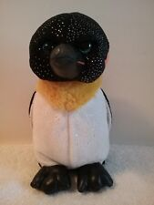 "The Petting Zoo 1994 Penguin Plush 8"" Tall Blue Eyes Multi Color Stuffed Animal"
