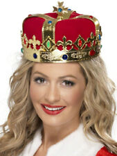 QUEENS CROWN LADIES FANCY DRESS ACCESSORY MEDIEVAL KING QUEEN OUTFIT